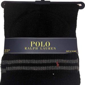 Polo Ralph Lauren Beanie Hat & Scarf Black Gray